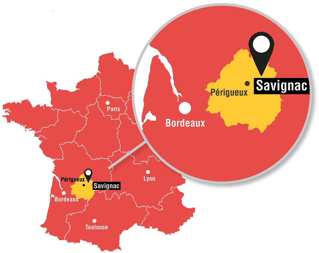 localisation du campus de savignac en France - carte géographique
